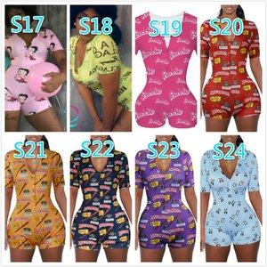 Desinger Verão Mulheres Macacões macacãozinho Sexy profundo decote em V Botão Shorts de pijama Onesies Calças Bodycon Shorts playsuit fêmeas Macacões 8757