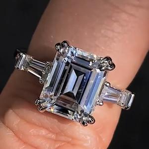 Vecalon Princesa Promise anel real Soild 925 Sterling Silver CZ diamante anéis de casamento banda de noivado para as mulheres Dedo Bridal jóias
