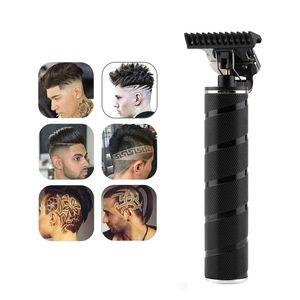 Cabeleireiro hairclipper Waterproof Professional Barber Homens Cabelo Trimmer USB recarregável Clipper máquina de corte Spiral Black Pattern Handle