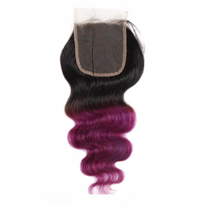 AIshow 10a Brazilian Hair Ombre Color Hair Weaves Extensions 3bundles With Closure T1b Purple T1b 99j Body Wave Human Hair Straight