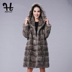 FURTALK larga con capucha 100% real capa de la chaqueta de las mujeres del invierno de las mujeres naturales Ropa