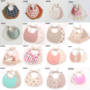 INS Cartoon 플로랄 기하학 동물 프린트 bibs 유아 bandana Burp Cloths baby girls boys cotton double layer tassel bib 38 스타일 C5790