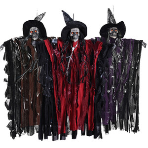Horror Grim Reaper Hanging Ghost Witch Voz Rot Light Eyes Decoraciones de Halloween Haunted House Bar Party Decoration Prop JK1909