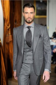 High Quality Grey Tweed Men Suit Double Breasted Slim Fit 3 Piece Tuxedo Custom Groom Blazer Suits Terno Masculino