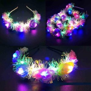 Femmes Lady filles LED Bandeau Flower Couronne Light Up cheveux Couronne Hairband Guirlandes de soirée de mariage Navidad
