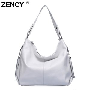 Zency 100% cuir véritable sac à main femme en cuir de vache Première couche longue poignée Sac à bandoulière rose d'argent Satchel Blanc Gris Sacs J190616