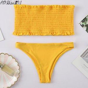 Ashgaily Sexy Bandeau Swimsuit бразильский бикини новый 2020 купальники женщины купальник женский пуш-ап купальник лето biquini Y200613