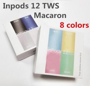 Auscultadores sem fios Bluetooth i12 TWS inpods 12 Macaron V5.0 Stereo telefone celular fones de ouvido Sports Sweatproof Headphone Toque Earbuds