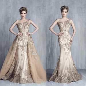 Tony Chaaya Evening Dresses With Detachable Train Champagne Beads Mermaid Prom Gowns Lace Applique Luxury Party Dress robes de soirée 604