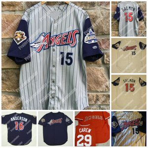 15 2001 Anaheim Rawlings 100 Estações Mike Trout Garret Anderson Joe Mauer Rod Carew Jersey Baseball Vintage