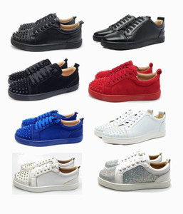 bottoms vermelhas rendas até sapatos casuais fundo corte de moda do partido camurça sapatos vermelhos baixos homens casamento tamanho mulheres 36-47 sapatos com caixa