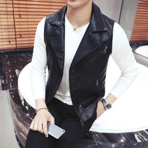오토바이 조끼 남성 가을 짧은 한국어 슬림핏 지퍼 옷깃 조끼 패션 나이트 클럽 쇼 PU 가죽 민소매 재킷