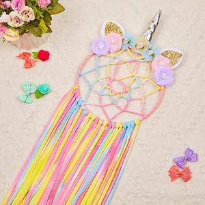 Fioday 2019 Unicorn Ear Hair Bows Storage Belt for Girls Round Hairband Organizer for Kids Rainbow HairClips Holder DIY Tools