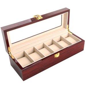 Regalos de reloj caja de almacenamiento de madera joyería de la vendimia caja de cristal sólido antideslizante de la Base de la pantalla Organizador con la cerradura Inicio Contadores de casos