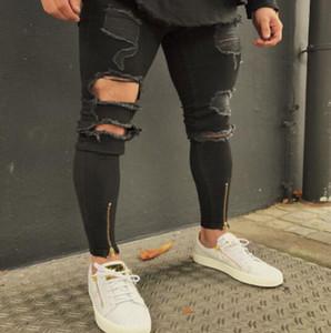 2019 New Black Ripped Jeans Uomo con fori Super Skinny Famous Designer Brand Slim Fit Jeans strappati strappati
