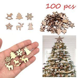 100Pcs legno Decorazioni di Natale Natural Color creativo ambientale del fumetto Trucioli del fiocco di neve dei cervi Decor Xmas Party Ornaments LXL800-1