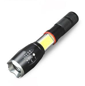 lado linterna LED lámpara COB diseño T6 / L2 8000 lúmenes antorcha Zoomable 4 de luz 5 modos para 18650 batería lámpara de deportes al aire libre