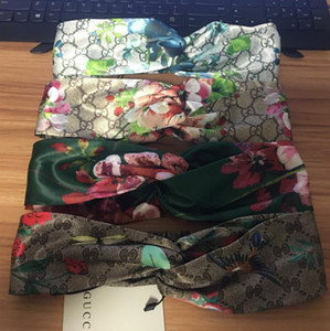 4 Nouveau style 100% soie très doux Bandeaux dames femmes Styliste Marque Bloom Fleur Oiseau élastique Hairband fille dames headwraps