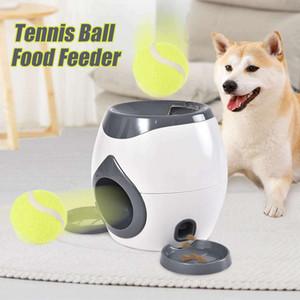 2 in 1 Pet Dog Toys Interactive automatico sfera Launcher Tennis Emission gettare i giocattoli Premiare Food Machine Dispenser Y200330