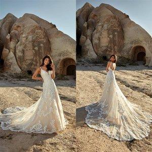 Sexy A-line Eddy K Wedding Dresses Spaghetti Strap Sleeveless Appliqued Lace Boho Bridal Dress Backless Sweep Train Beach Robes De Mariée
