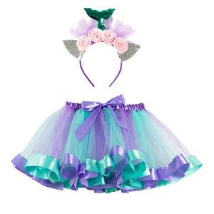Tutu Skirt Baby Girl Skirts Princess Pettiskirt Party Dance Rainbow Tulle Skirt+headband Set Girls Tulle Bloomers Diapers Cover