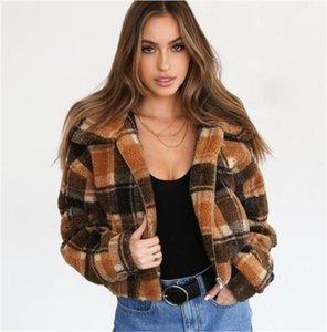 Moda feminina Outono e Inverno Jaquetas Casuais do Vintage Xadrez Impressão Imitado Cordeiro Bomber Jacket Hat Casacos Destacáveis