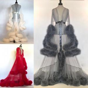 Женщины Зима Sexy Lady искусственного меха пижамы женщин Халат Sheer Nightgown Красный Белый Серый Мантия выпускного вечера Bridesmaid Шавель