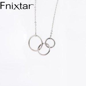 Fnixtar Переплетение круг ожерелье из нержавеющей стали двойной круг Три ожерелье Для Дружбы 10piece / серия