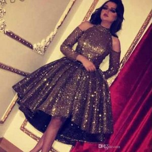 2019 New Bling Little Black Dresses Robe De Bal En Cristal De Paillettes Robe De Cocktail Courte Robes Haute Basse Haute Col Cou À Manches Longues Robe De Bal