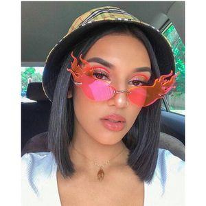 Fire Wave Flame Eye Sunglasses Women Vintage Brand Designer Sun Glasses Men Small Metal Shades For Women Party Sunglasses