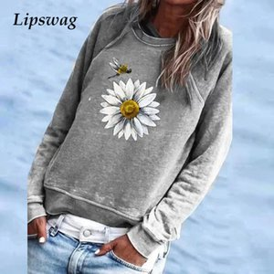 Women 2020 Autumn O Neck Daisy Print Blouse Shirts Fashion Long Sleeve Elegant Tops Pullover Plus Size Streetwear Ladies Blouses