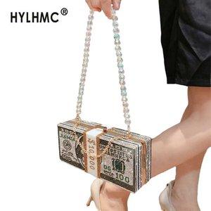 Luxe Fahsion diamant sac femmes sac à main d'embrayage sac USD cristal soir petit sacs de messager épaule sacs à main du parti de la chaîne