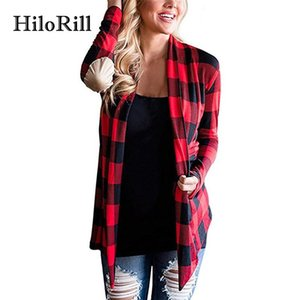 HiloRill Knitted Cardigan Women Fall 2018 Fashion Plaid Print Long Sleeve Sweater Thin Cardigan Poncho Elbow Patchwork Coat XXL