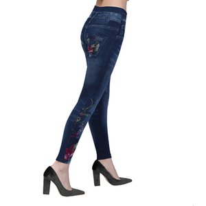 2019 Women Jean Faux Denim Jeans Ladies Seamless Floral Print Sexy Full Trousers Plus Size Streetwear Jean Taille Haute