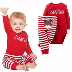2 PCS Natal Meninos Roupas de Bebê Recém-nascido Romper Macacão Bodysuit + Calças Compridas Meninas Roupas Roupas Conjunto Criança Roupa Da Menina