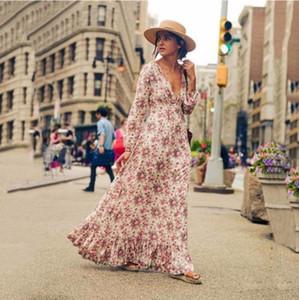 Sexy V Neck Boho Maxi Woman Dress Long Sleeve Print Vintage Beach Dresses Draped Party Vestido