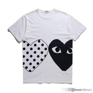 2018 COM-Großhandelsneues bestes Qualitätsneues heißes FEIERTAGS-Herz Emoji SPIEL GARCONS japanische weiße schwarze Tupfen-Herz-weißes T-Shirt Mens Womens