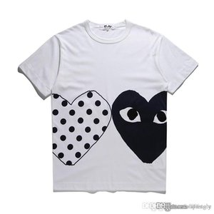 2018 COM toptan Yeni En Kaliteli Yeni Sıcak TATİL Kalp Emoji OYUN GARCONS Japon Beyaz Siyah Polka Dots Kalp Beyaz T Shirt Womens