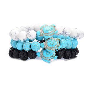 8mm Black Lava Stone Turquoise Bead Cross Toutoise Bracelet Sess Oil Difuser Pulsera para Mujeres Hombres Joyería