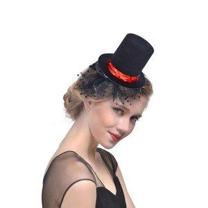 Kadınlar Kız Kırmızı Pullu Siyah Mini Top Hat Saç Klip Şapka Bankası DIY Craft Saç Aksesuarları Karnaval Düğün Baş Giyim
