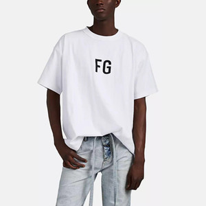 19SS FEAR OF DIEU 6TH IN OUT OUT FG Lettre imprimée T-shirt Casual FOG Respirant Manches Courtes Rue Skateboard T-shirt De Mode Blanc HFTTTX092