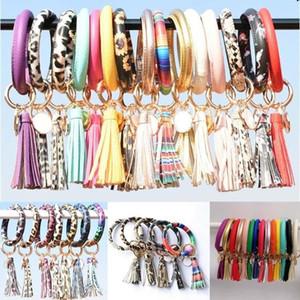 Girls Women Tassel Bracelets PU Leather Wrap Key Ring Leopard Lily Print Keychain Keyring Wristband Sunflower Circle Bangle Chain Wristlet
