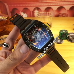 Best Edition RM 035 AMERICA5 Black PVD Steel Case Skeleton Dial Japan Miyota Automatic RM035 Mens Watch Black Rubber Strap Sport New Watche