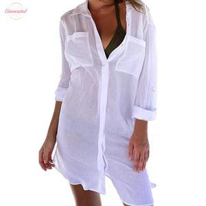 Button spiaggia delle donne di occultamento di Down tasca T-shirt protezione solare Bikini Swimsuit camicetta Summer Slim signore sexy bella camicia Cd