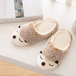 Top New cute plush shoes women Hedgehog home indoor winter Dog slippers Waterproof non-slip shoes