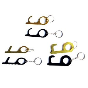 В наличии !! Металлические Handsfree безопасности Бесконтактный Гигиеническая Stylus Key Hook Антибактериальное Brass Hands Free Ручка двери открывалка Tool EEA1581
