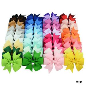 3inch Bebés Meninas Bow Grampos Grosgrain Ribbon Bows Sólidos cabelo Childrens Acessórios Kids Boutique arco barrette clipes 40 cores DBC BH3123