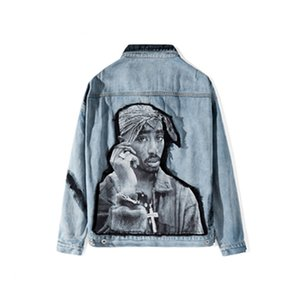 Mode Hip Hop Rap Rapper gedrucktes Patchwork Abbindebatik Jeansjacken Männer 2020 Hip Hop Lässige Street Denim-Jean-Mantel-Oberbekleidung