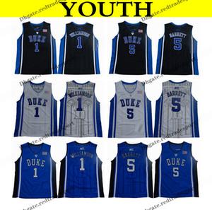 2018 ديوك الشباب الأزرق الشياطين كلية كرة السلة جيرسي بنين صهيون ويليامسون # 1 RJ باريت رقم 5 اسود للأطفال كرة السلة قمصان