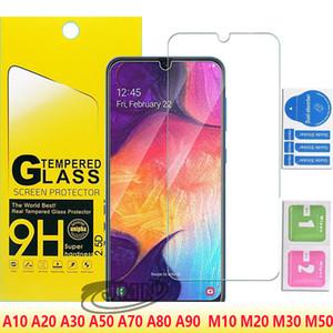 2.5D الزجاج لسامسونج غالاكسي A10 A20 CORE A30 A50 A70 A80 A90 A9 A9PRO 2019 M10 M20 M30 M50 حامي الشاشة الزجاجية في كيس من الورق